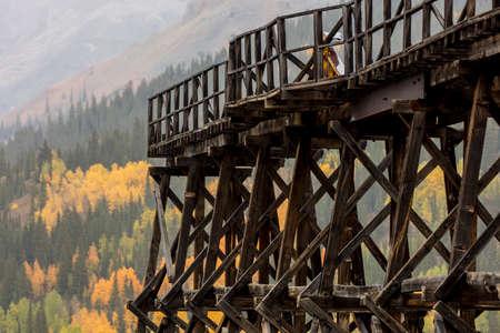 September 19, 2018. Silverton, Colorado, USA - Historic deserted mine and trellis outside of Silverton Colorado off Route 550