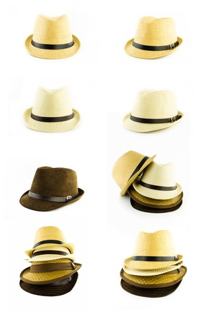pile of weaving hat isolated on white background