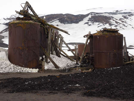 Old whaling station on Deception Island in Antarctica