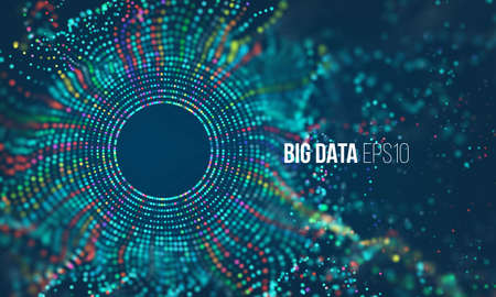 Illustration pour Abstract colorful particle grid with bokeh. Science dust with glow. Futuristic bigdata visualization - image libre de droit