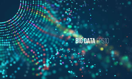 Ilustración de Bigdata illustration. Big data science technology background with particles grid and bokeh flare - Imagen libre de derechos
