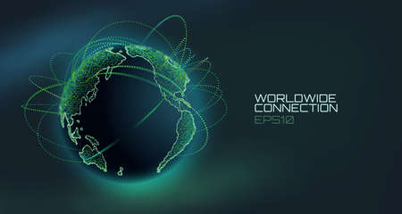 Illustration pour Worldwide connection abstract vector globe. Telecommunication technology line with trajectory of information data. USA to Europe stream - image libre de droit