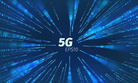 Illustration pour 5g superspeed data channel. Wireless speed loop connect. Flying particle motion trails - image libre de droit