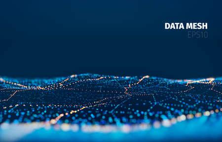 Ilustración de Vector particle grid technology background. Data mesh surface. Landscape night digital light - Imagen libre de derechos