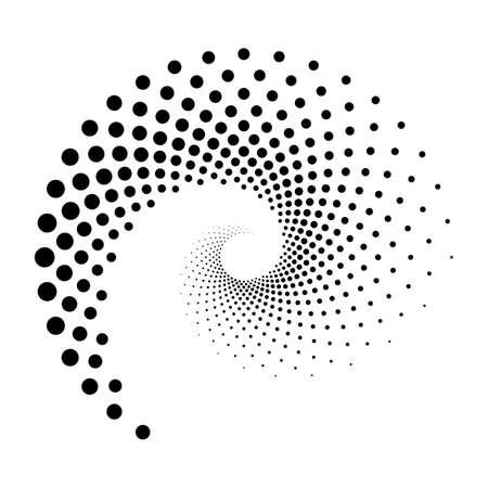 Illustration pour Design spiral dots backdrop. Abstract monochrome background. Vector-art illustration. No gradient - image libre de droit