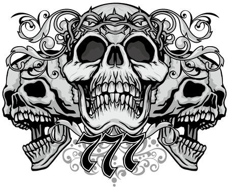 Illustration pour Gothic coat of arms with skull, grunge vintage design t shirts - image libre de droit
