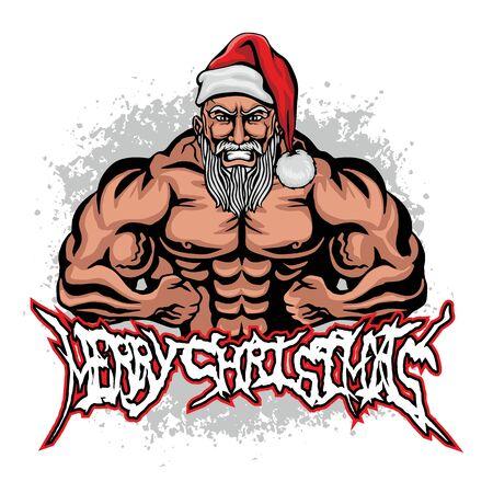 Ilustración de Christmas fitness Santa Claus, grunge vintage design t shirts - Imagen libre de derechos