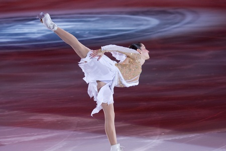 Turin, Italy - October,  8, 2011:Valentina Marchei of Italy perform in the Gran Galà of Ice event in the Palavela in Turin, Italy