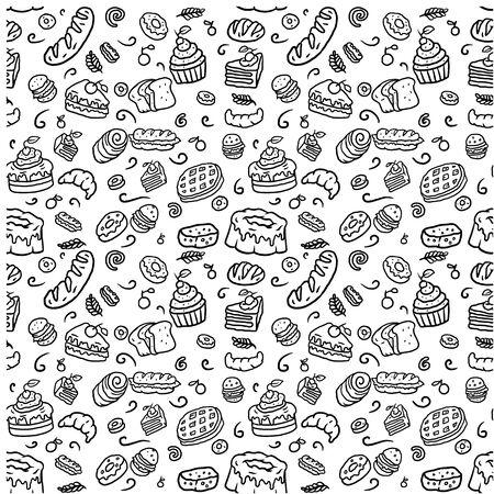 Illustration for Seamless bakery pattern, hand drawn line art vector illustration - Royalty Free Image