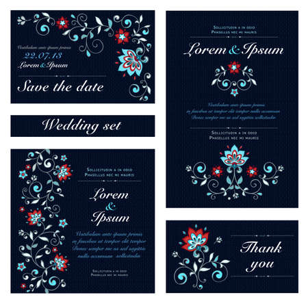 Illustration for Invitation card set in original  - Royalty Free Image