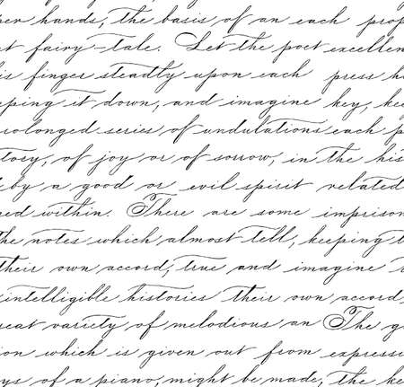 Illustration pour Seamless pattern with handwriting text. Calligraphy. Text background. Spencerian style. - image libre de droit