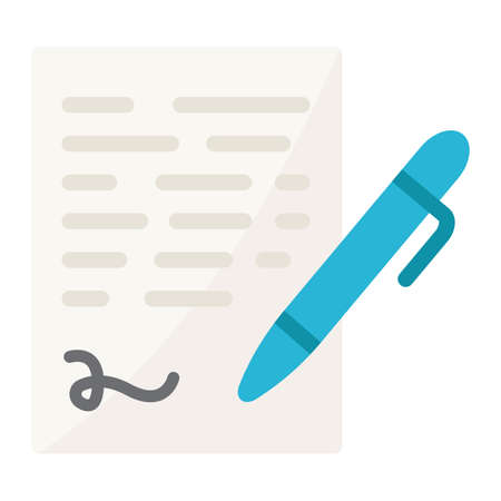 Pen signing flat icon, business contract and signature, vector graphics, a colorful solid pattern on a white background, eps 10.