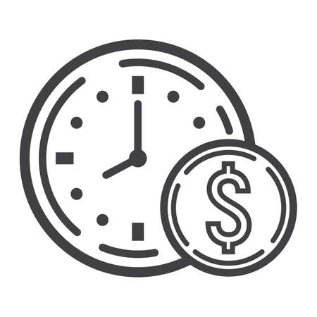 Illustration pour Time Is Money line icon, business and finance, coin sign vector graphics, a linear pattern on a white background, eps 10. - image libre de droit