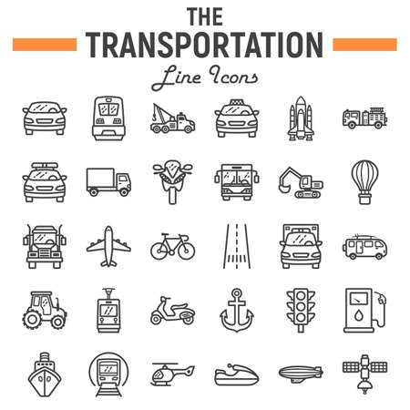 Ilustración de Transportation line icon set, transport symbols collection, vehicle vector sketches, logo illustrations, navigation signs linear pictograms package isolated on white background, eps 10. - Imagen libre de derechos