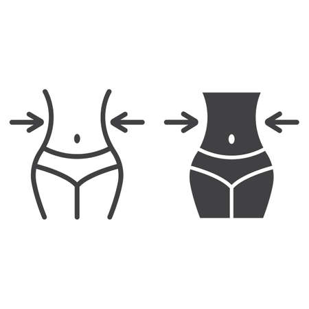 Weight loss line and glyph icon, fitness and sport, slim body with measuring tape sign vector graphics, a linear pattern on a white background, eps 10.