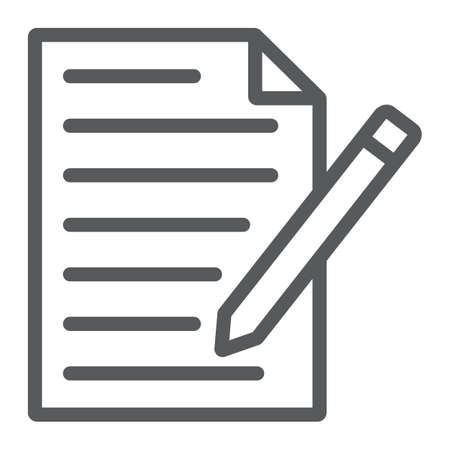 Illustration pour Contact form line icon, paper and pen, blank sign, vector graphics, a linear pattern on a white background, eps 10. - image libre de droit