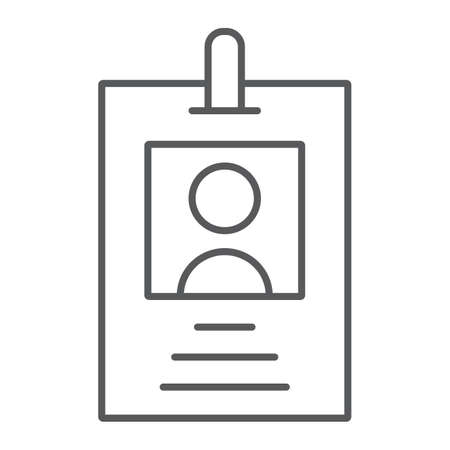Illustration pour Office badge thin line icon, office and work, card sign, vector graphics, a linear pattern on a white background, eps 10. - image libre de droit
