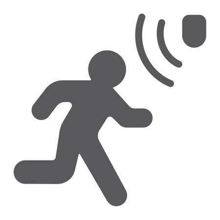 Motion detection glyph icon, security and detector, walking man sign, vector graphics, a solid pattern on a white background, eps 10.