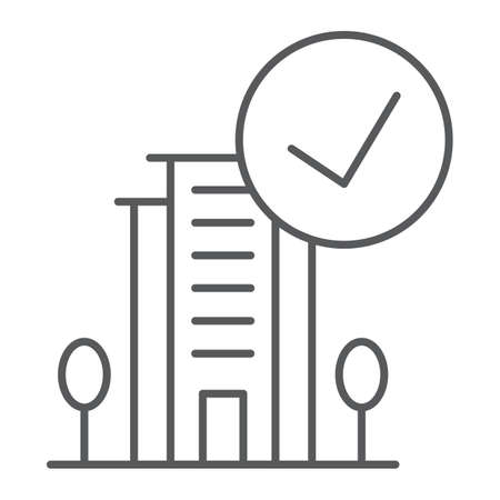 Verified thin line icon, hotel and review, hotel with tick sign, vector graphics, a linear pattern on a white background.