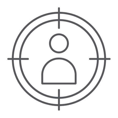 Illustration pour People target thin line icon, targeting and focus, person in aim sign, vector graphics, a linear pattern on a white background. - image libre de droit