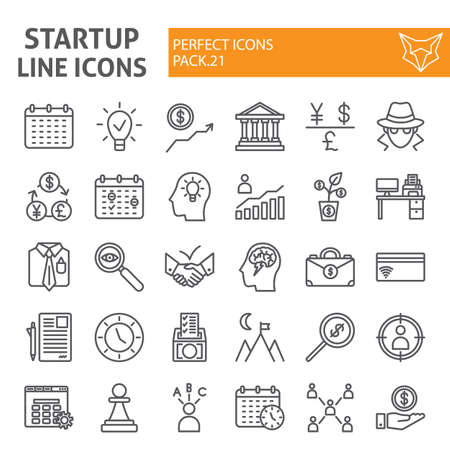 Illustration for Startup line icon set, finance symbols collection, vector sketches, logo illustrations, development signs linear pictograms package isolated on white background. - Royalty Free Image