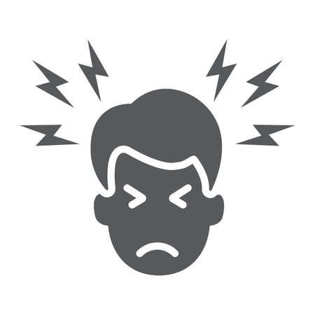 Illustration for Headache glyph icon, body and pain, head pain sign, vector graphics, a solid pattern on a white background. - Royalty Free Image