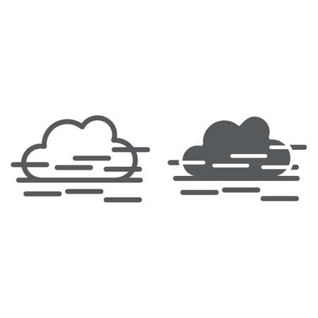 Illustration pour Fog line and glyph icon, weather and forecast, humidity sign, vector graphics, a linear pattern on a white background. - image libre de droit