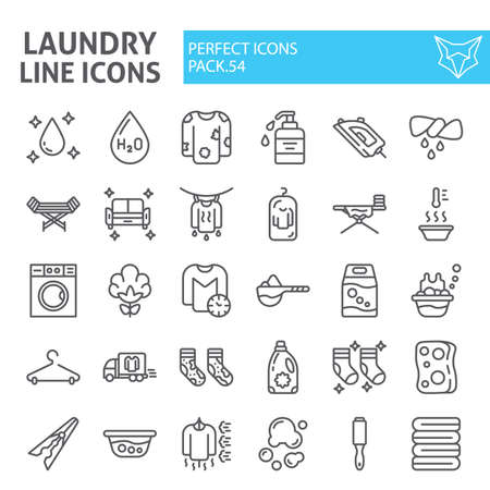 Illustration for Laundry line icon set, washing symbols collection, vector sketches, housework signs linear pictograms package isolated on white background. - Royalty Free Image