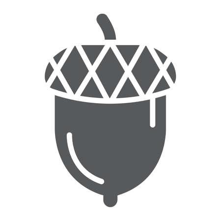 Illustration pour Acorn glyph icon, oak and growth, plant sign, vector graphics, a solid pattern on a white backgrond. - image libre de droit