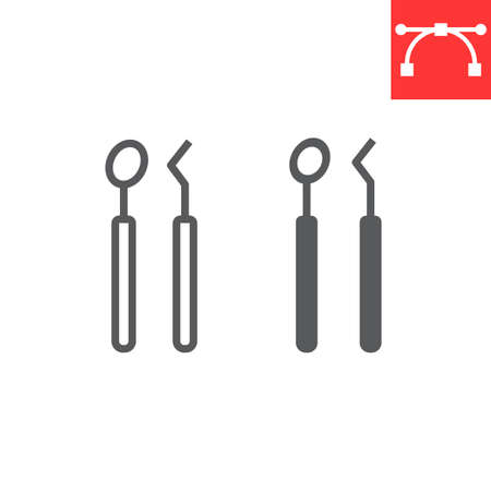 Illustration for Dental tools line and glyph icon, dental and stomatology, dentist tools sign - Royalty Free Image
