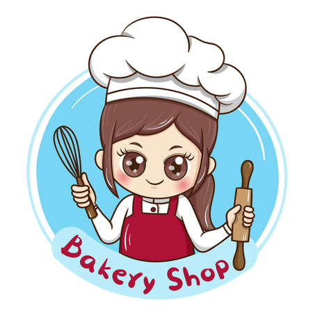 Illustration pour Illustrator of Female Chef cartoon - image libre de droit