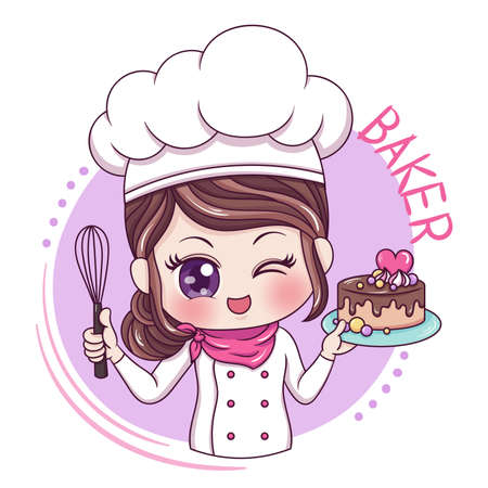 Ilustración de Illustration of cartoon character female baker - Imagen libre de derechos