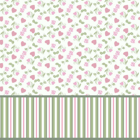 Vector valentine seamless pattern with hearts roses and stripes