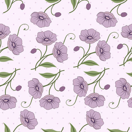 Illustration for Elegant seamless vector pattern with violet flowers - Royalty Free Image