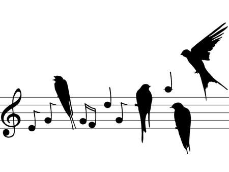 music notes with birds