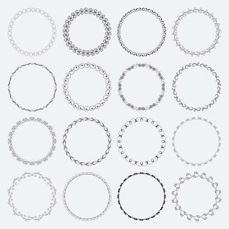 Ilustración de Set of round and circular decorative patterns for design frameworks and banners - Imagen libre de derechos