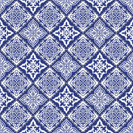 Illustration pour Vector abstract seamless patchwork pattern with geometric and floral  ornaments, stylized flowers, dots, snowflakes and lace. Vintage boho style. - image libre de droit