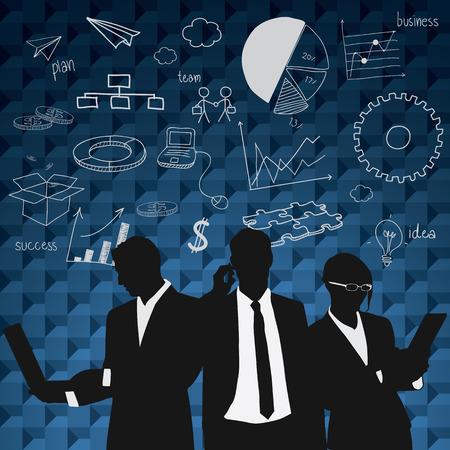 Foto de Business people group black silhouette concept  business people team graph finance chart diagram background. - Imagen libre de derechos