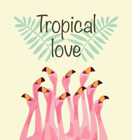 Illustration pour Flamingo illustration for Tropical love - image libre de droit