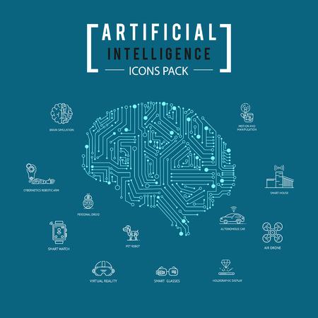 Illustration pour Brain artificial intelligence icon pack. - image libre de droit