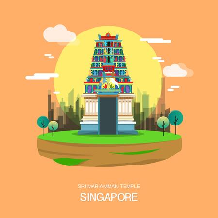 Sri mariamman temple landmark in Singapore illustration design.