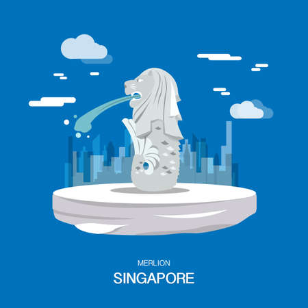 Merlion landmark and tourist attraction in Singpapore illustration design.