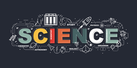Ilustración de Design Concept Of Word SCIENCE Website Banner. - Imagen libre de derechos