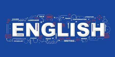 Illustration pour English word for education with icons flat design - image libre de droit