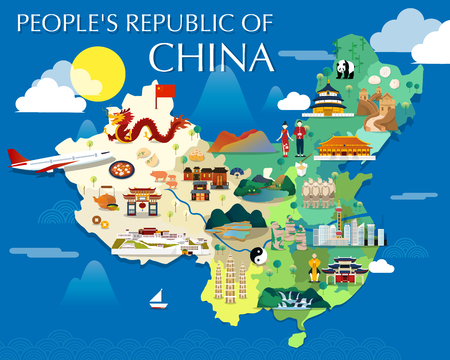 Illustration pour Map Of China Attractions Vector And Illustration. - image libre de droit