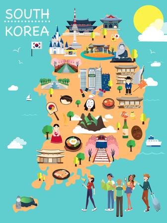 Illustration pour Map Of Korea Attractions Vector And Illustration. - image libre de droit