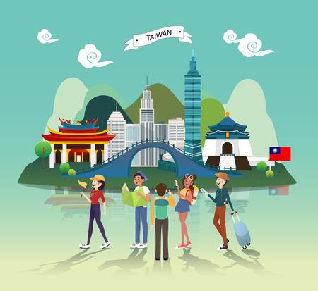 Ilustración de Tourist attraction landmarks in Taiwan illustration design - Imagen libre de derechos