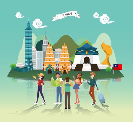 Photo pour Tourist attraction landmarks in Taiwan illustration design - image libre de droit