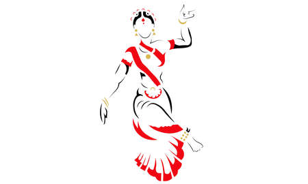 Illustration pour A vector illustration artwork of silhouette Indian classical dancer. - image libre de droit