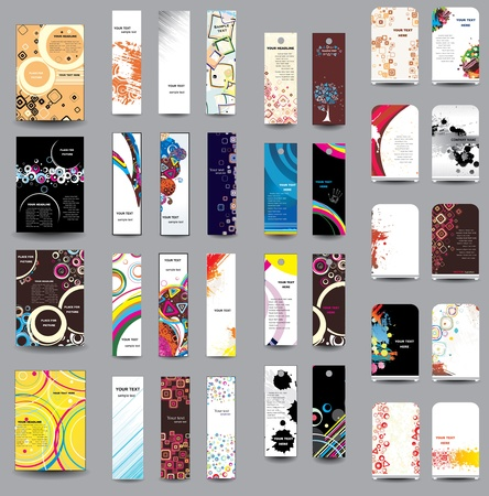 A set of flyers , banners , labels, roll-up